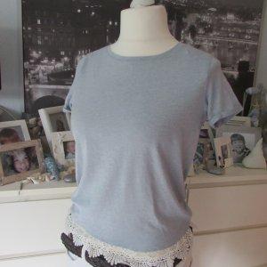 Tom Tailor * %Summer Sale% Süßes Sommer Shirt * hellblau weiß Spitze * S=36 NEU