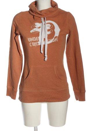 Tom Tailor Sweatshirt hellorange-weiß Motivdruck Casual-Look