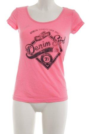 Tom Tailor Sweatshirt pink-schwarz Schriftzug gedruckt Casual-Look