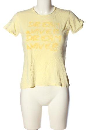 Tom Tailor T-Shirt blassgelb Schriftzug gedruckt Casual-Look