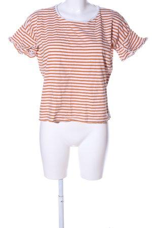 Tom Tailor T-Shirt hellorange-weiß Streifenmuster Casual-Look