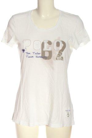 Tom Tailor T-Shirt wollweiß Schriftzug gedruckt Casual-Look