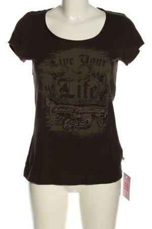 Tom Tailor T-Shirt braun Motivdruck Casual-Look