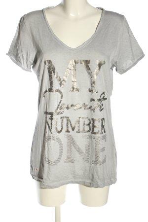 Tom Tailor T-Shirt hellgrau-silberfarben Schriftzug gedruckt Casual-Look