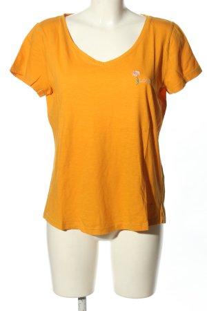 Tom Tailor T-Shirt hellorange Schriftzug gestickt Casual-Look