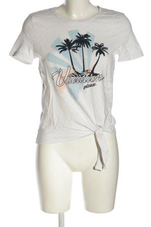 Tom Tailor T-Shirt weiß-türkis Motivdruck Casual-Look