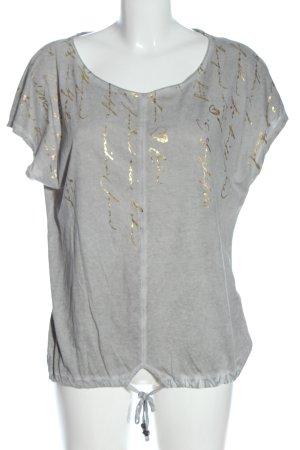 Tom Tailor T-Shirt hellgrau-goldfarben abstraktes Muster Casual-Look