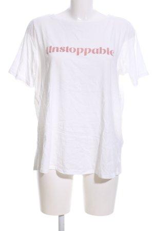 Tom Tailor T-Shirt weiß-rot Schriftzug gedruckt Casual-Look