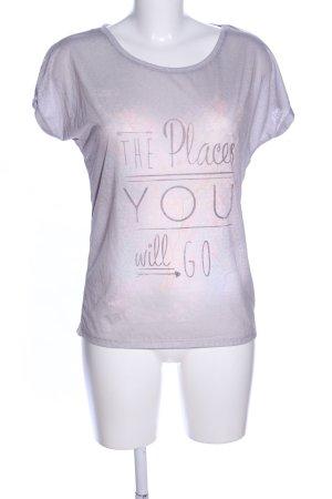 Tom Tailor T-Shirt hellgrau-pink Schriftzug gedruckt Casual-Look