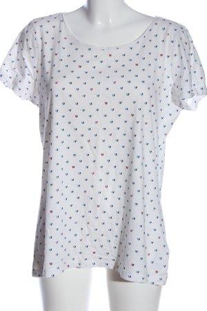 Tom Tailor T-Shirt weiß-blau Allover-Druck Casual-Look