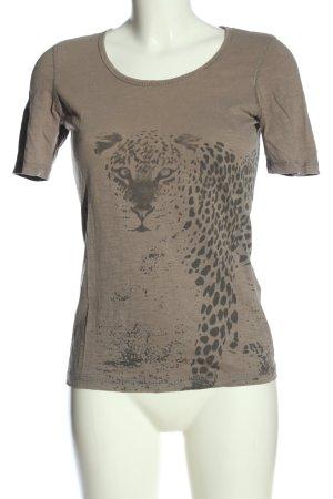 Tom Tailor T-Shirt braun-schwarz Motivdruck Casual-Look