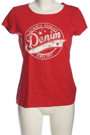 Tom Tailor T-Shirt rot-weiß Schriftzug gedruckt Casual-Look