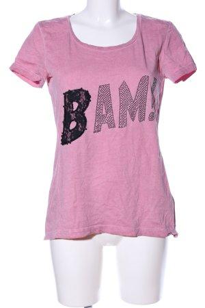 Tom Tailor T-Shirt pink Schriftzug gedruckt Casual-Look