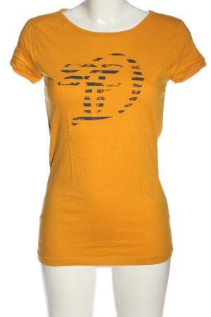 Tom Tailor T-Shirt hellorange-blau Motivdruck Casual-Look