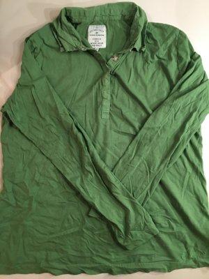 TOM TAILOR T-Shirt langarm mit Hemdkragen und Druckknöpfen, Gr. XL, grün, Neu und ungetragen, basic