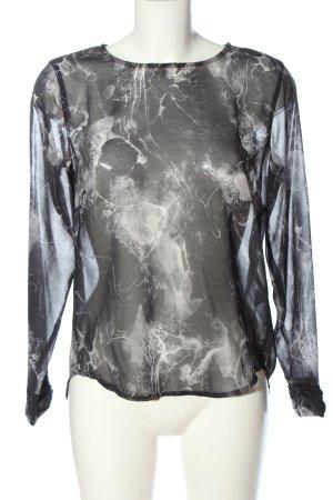 Tom Tailor Blusa transparente negro-blanco puro estampado con diseño abstracto