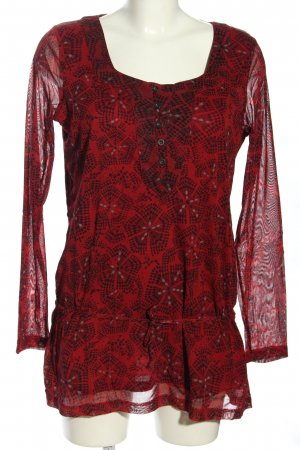 Tom Tailor Tunikabluse rot-schwarz Allover-Druck Casual-Look