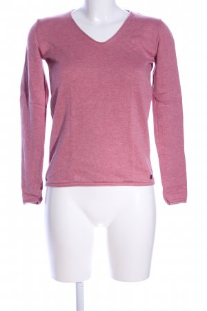 Tom Tailor V-Ausschnitt-Pullover pink meliert Casual-Look