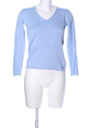 Tom Tailor V-Ausschnitt-Pullover blau meliert Casual-Look
