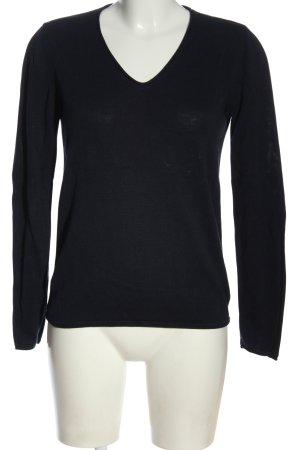 Tom Tailor V-Ausschnitt-Pullover schwarz Streifenmuster Casual-Look