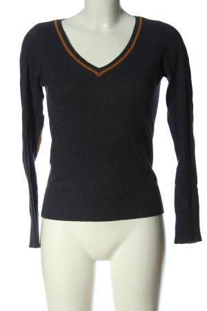 Tom Tailor V-Ausschnitt-Pullover schwarz-braun meliert Casual-Look