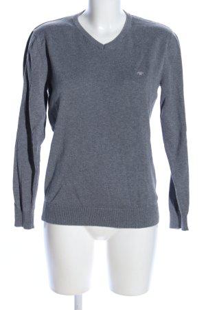 Tom Tailor V-Ausschnitt-Pullover hellgrau meliert Casual-Look