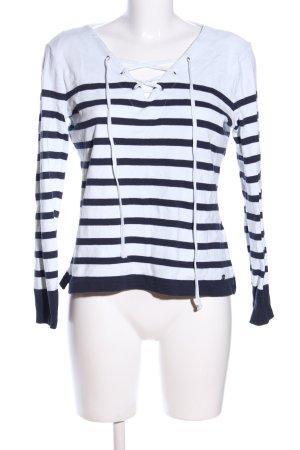Tom Tailor V-Ausschnitt-Pullover weiß-blau Streifenmuster Casual-Look