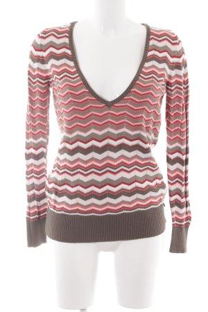 Tom Tailor V-Ausschnitt-Pullover mehrfarbig Casual-Look