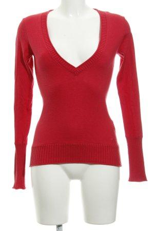 Tom Tailor V-Ausschnitt-Pullover rot Casual-Look