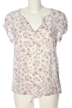 Tom Tailor V-Ausschnitt-Shirt wollweiß-pink Allover-Druck Casual-Look