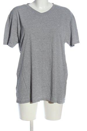 Tom Tailor V-Ausschnitt-Shirt hellgrau meliert Casual-Look