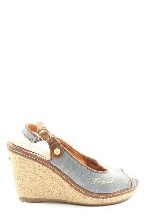 Tom Tailor Wedges Sandaletten blau-goldfarben Casual-Look