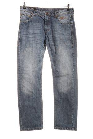 Tom Tompson Straight-Leg Jeans hellgrau Schriftzug gestickt Casual-Look