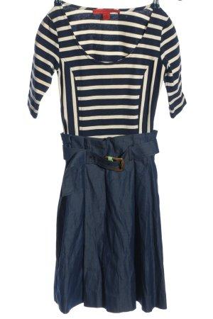 Tommy Hilfiger A-Linien Kleid blau-wollweiß Streifenmuster Casual-Look