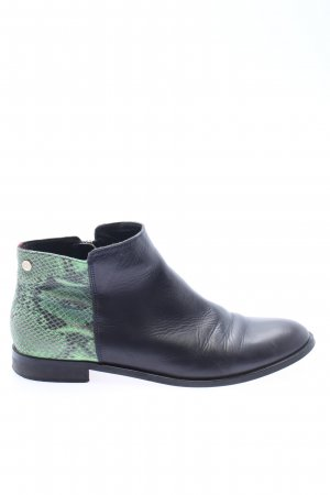 Tommy Hilfiger Ankle Boots schwarz-grün Animalmuster Business-Look