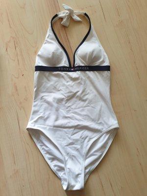 Tommy Hilfiger Strój kąpielowy biały-ciemnoniebieski Poliamid