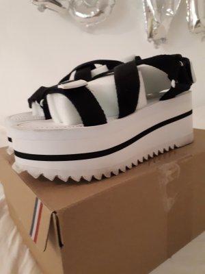 Tommy Jeans Sandalias de playa blanco-negro tejido mezclado