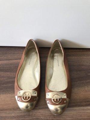 Tommy Hilfiger Ballerina di pelle verniciata cognac-oro