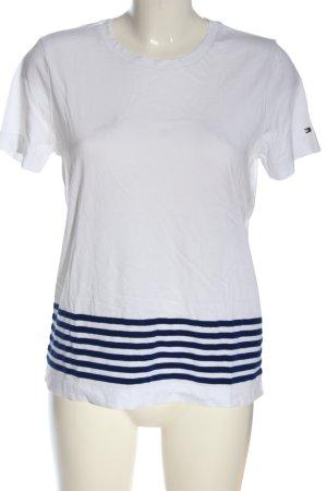 Tommy Hilfiger Basic-Shirt weiß-blau Streifenmuster Casual-Look