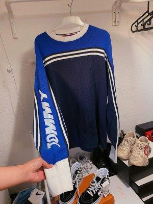 Tommy Hilfiger blau schwarz weißer oversize Pullover / Sweater / Strickpullover / Strickpulli mit Logo