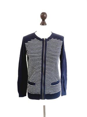 Tommy Hilfiger blau weiß gestreifte Strickjacke maritim Baumwolle