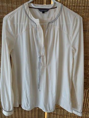 Tommy Hilfiger Blusa de manga larga crema-azul acero Viscosa