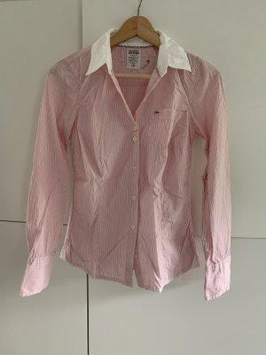 Tommy Hilfiger Bluse small, rosa/weiß gestreift mit weißem Kragen