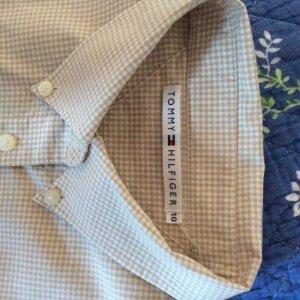 Tommy Hilfiger Bluse tailliert klassisch beige-weiß, Vichy Karo, Größe US10/DE 40
