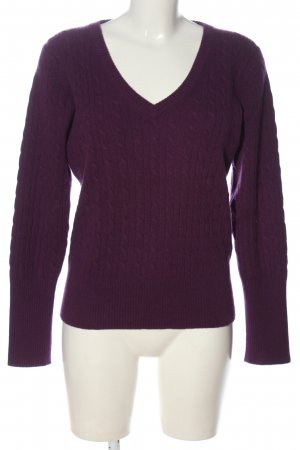 Tommy Hilfiger Cashmerepullover lila Zopfmuster Casual-Look