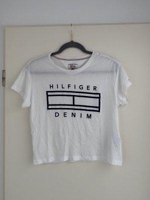 Tommy Hilfiger Denim Cropped Shirt white-dark blue