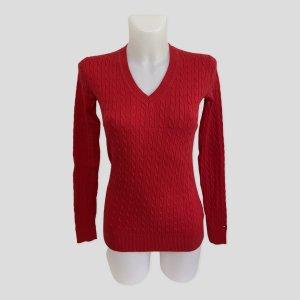 Tommy Hilfiger Cienki sweter z dzianiny czerwony Bawełna