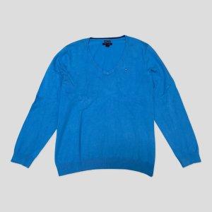 Tommy Hilfiger Damen Pullover XXL hellblau Pima Cotton Blend Baumwolle.