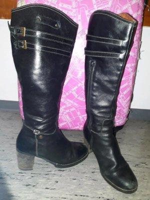 Tommy Hilfiger Damen Stiefel echtes Leder mit Absatz schwarz 39