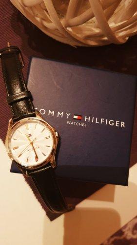 Tommy Hilfiger Denim Watch With Leather Strap black